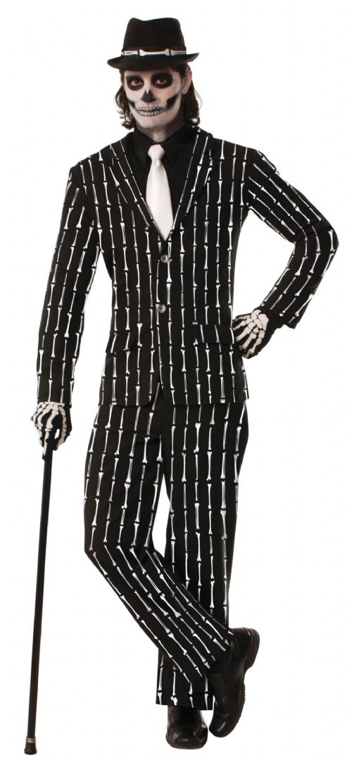 Adults Bone Pin Stripe Suit Costume Skeleton Pirate Dinosaur Fancy Dress Outfit